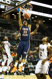 Virginia State's Larry Savage (#23) dunks in the first half of their Big Apple Classic matchup against Virginia Union