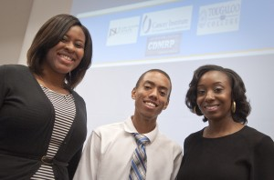 Britttany Martin, Anthony Keyes, and Tatyana Givens, the Jackson State University students who participated in the prostate cancer research program